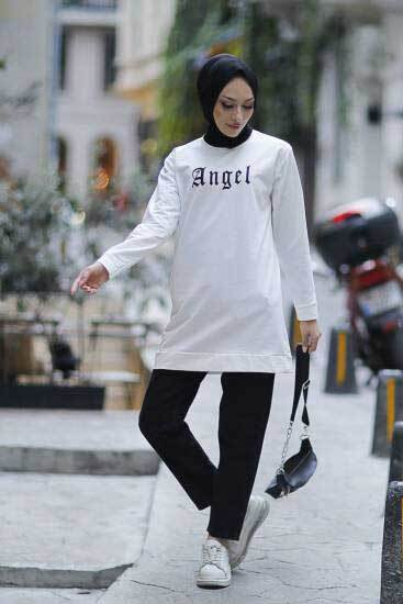 Angel Baskılı Beyaz Tesettür Tunik Alz1960-1