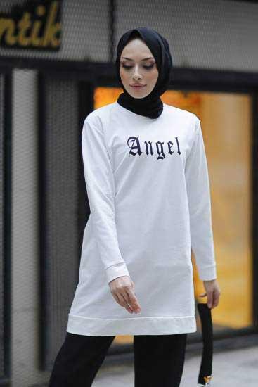 Alize - Angel Baskılı Beyaz Tesettür Tunik Alz1960-1 (1)