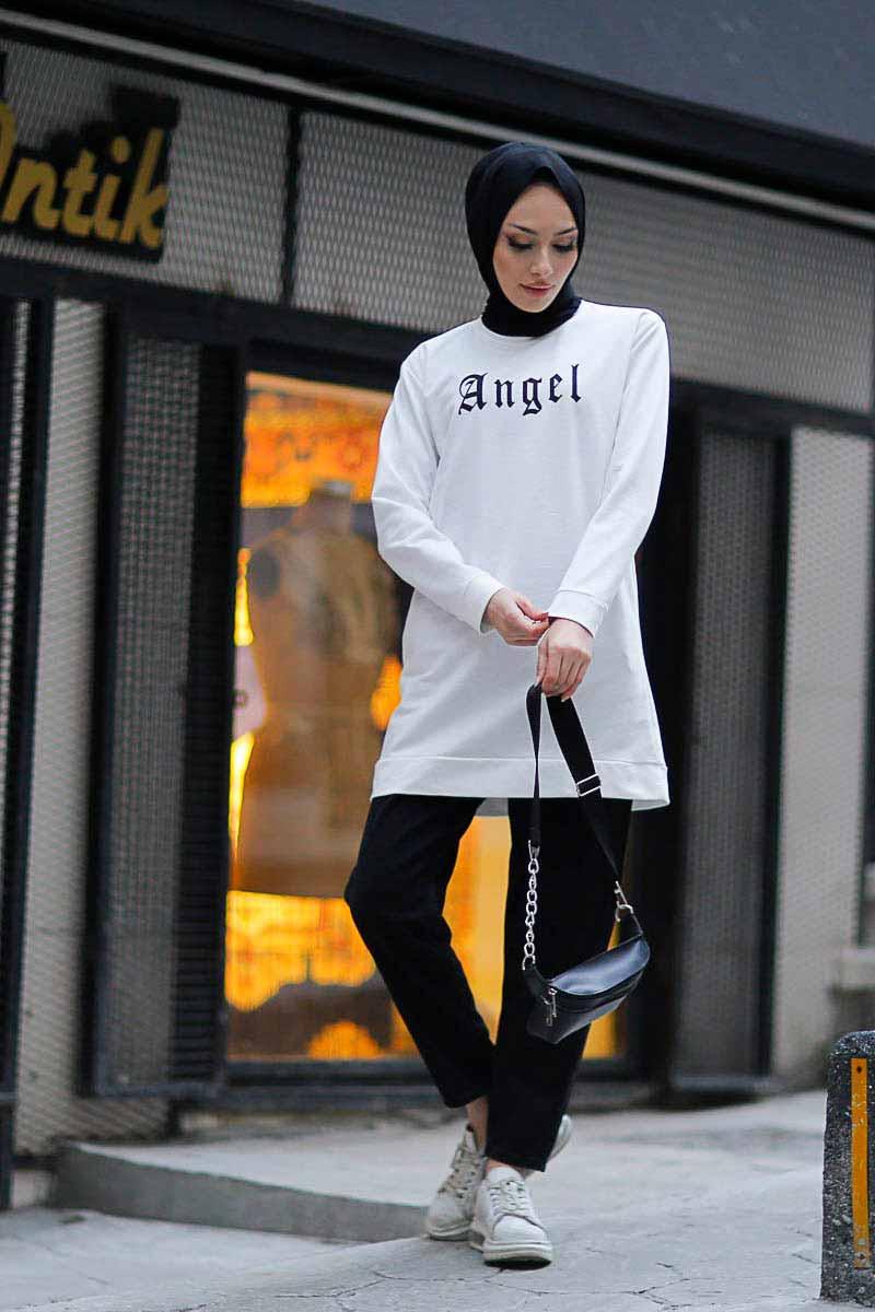 Angel Baskılı Beyaz Toptan Tesettür Tunik Mst1960-1