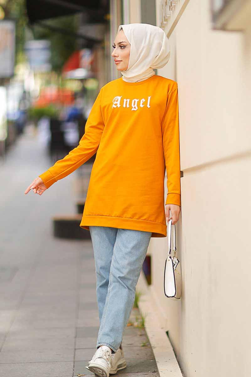 Angel Baskılı Hardal Tesettür Tunik Alz1960-7
