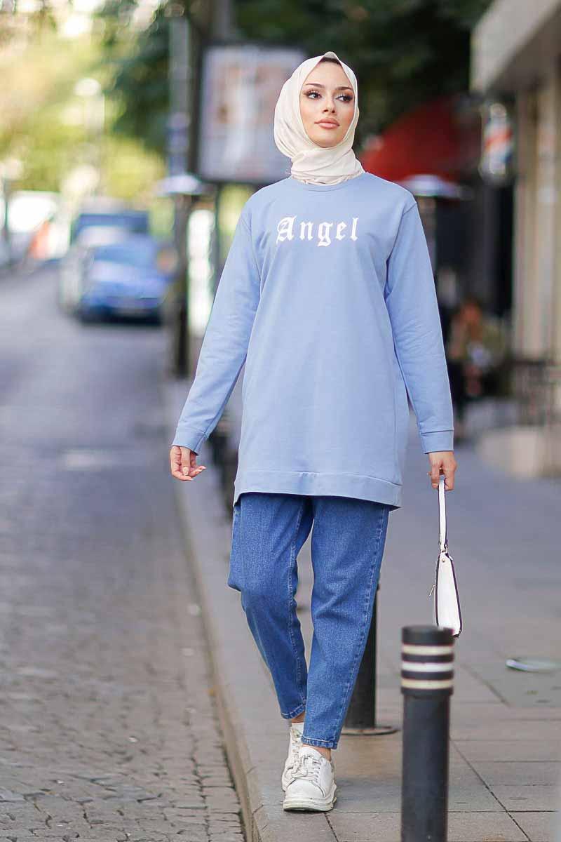 Angel Baskılı İndigo Tesettür Tunik Alz1960-5