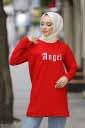 Angel Baskılı Kırmızı Tesettür Tunik Alz1960-3 - Thumbnail
