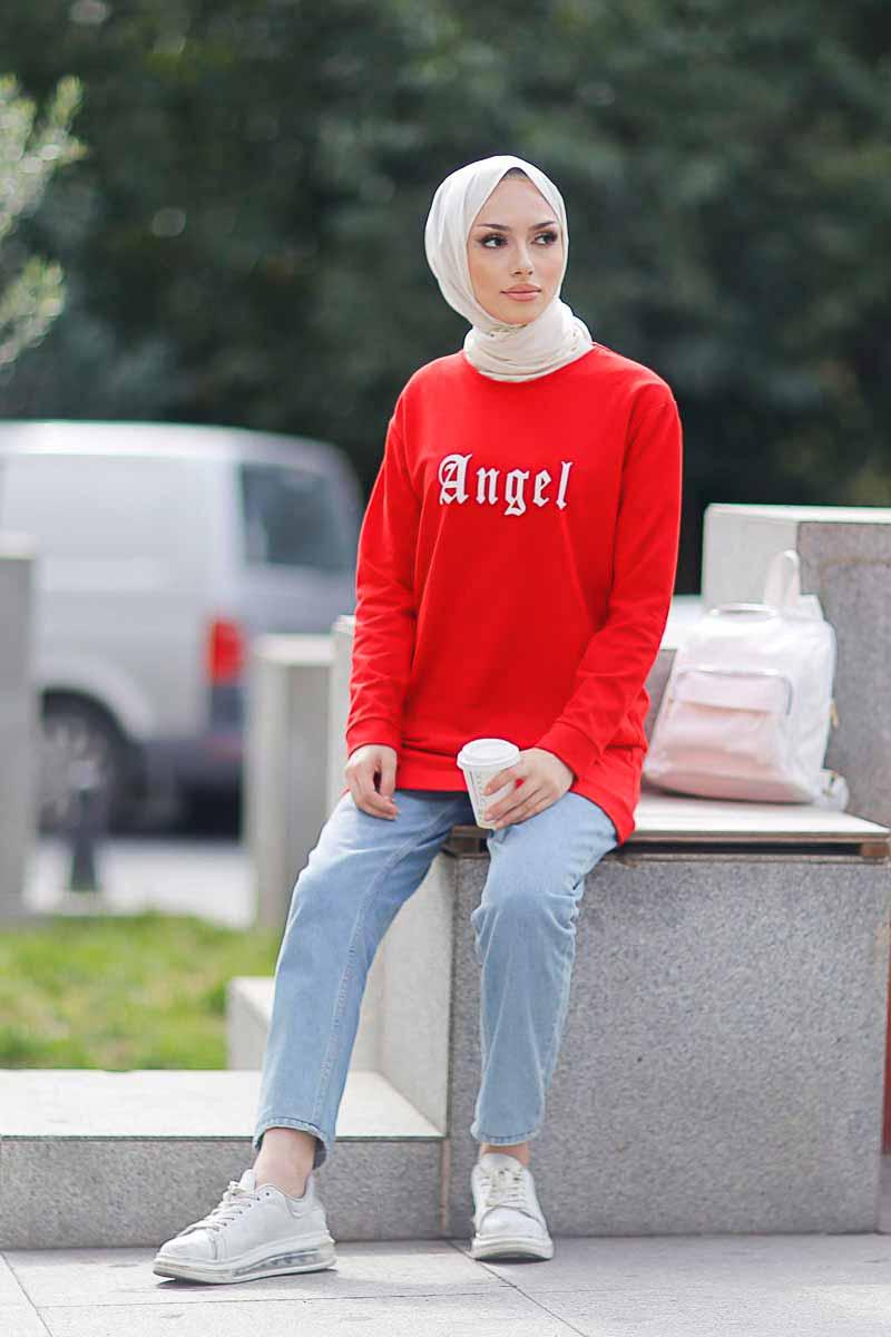 Angel Baskılı Kırmızı Tesettür Tunik Alz1960-3