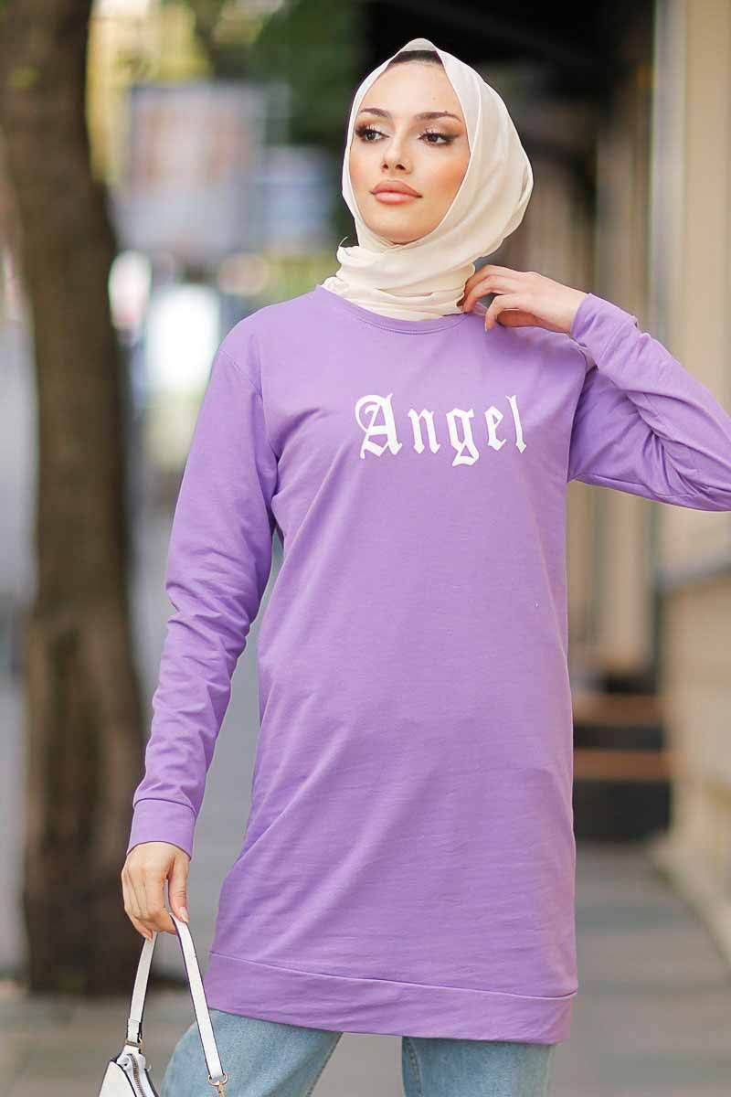 Angel Baskılı Lila Tesettür Tunik Alz1960-4