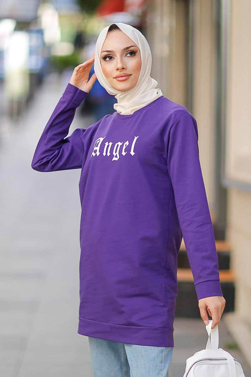 Angel Baskılı Mor Tesettür Tunik Alz1960-2