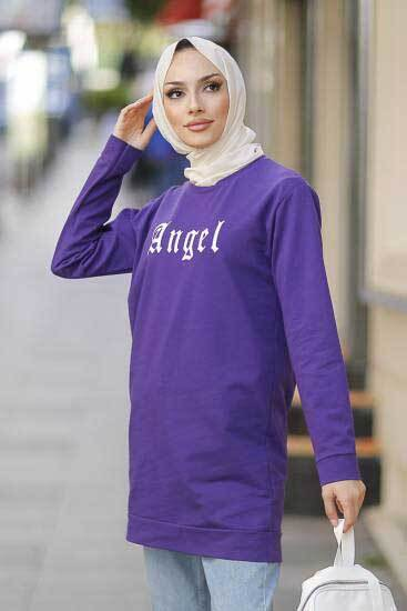Alize - Angel Baskılı Mor Tesettür Tunik Alz1960-2 (1)