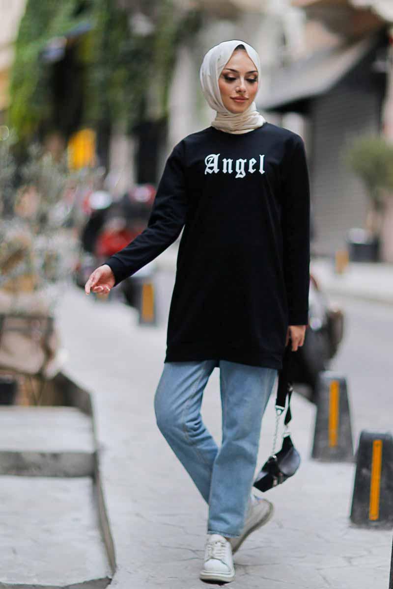 Angel Baskılı Siyah Tesettür Tunik Alz1960-6