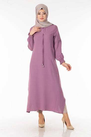 Sevinç Butik - Bağcıklı Boydan Lila Tesettür Tunik Svn6687-2 (1)