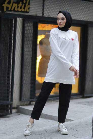 Alize - Baskılı Beyaz Tesettür Tunik Alz1962-1 (1)