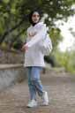 Baskılı Beyaz Tesettür Tunik Nva546-4 - Thumbnail