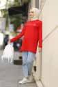 Baskılı Kırmızı Tesettür Tunik Alz1962-5 - Thumbnail
