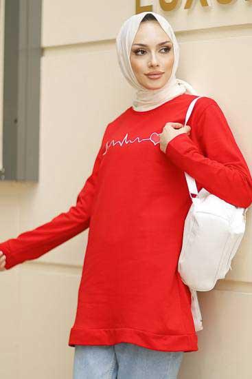Alize - Baskılı Kırmızı Tesettür Tunik Alz1962-5 (1)