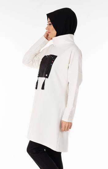 Nessia - Baskılı Püsküllü Beyaz Tesettür Tunik Nsa5731-3 (1)