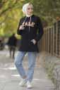 Baskılı Siyah Tesettür Tunik Mst546-2 - Thumbnail