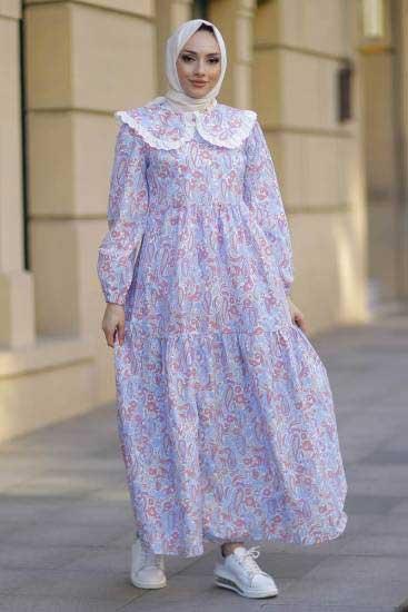 New Face - Bebe Yaka Gül Tesettür Elbise Nfc5041-3 (1)