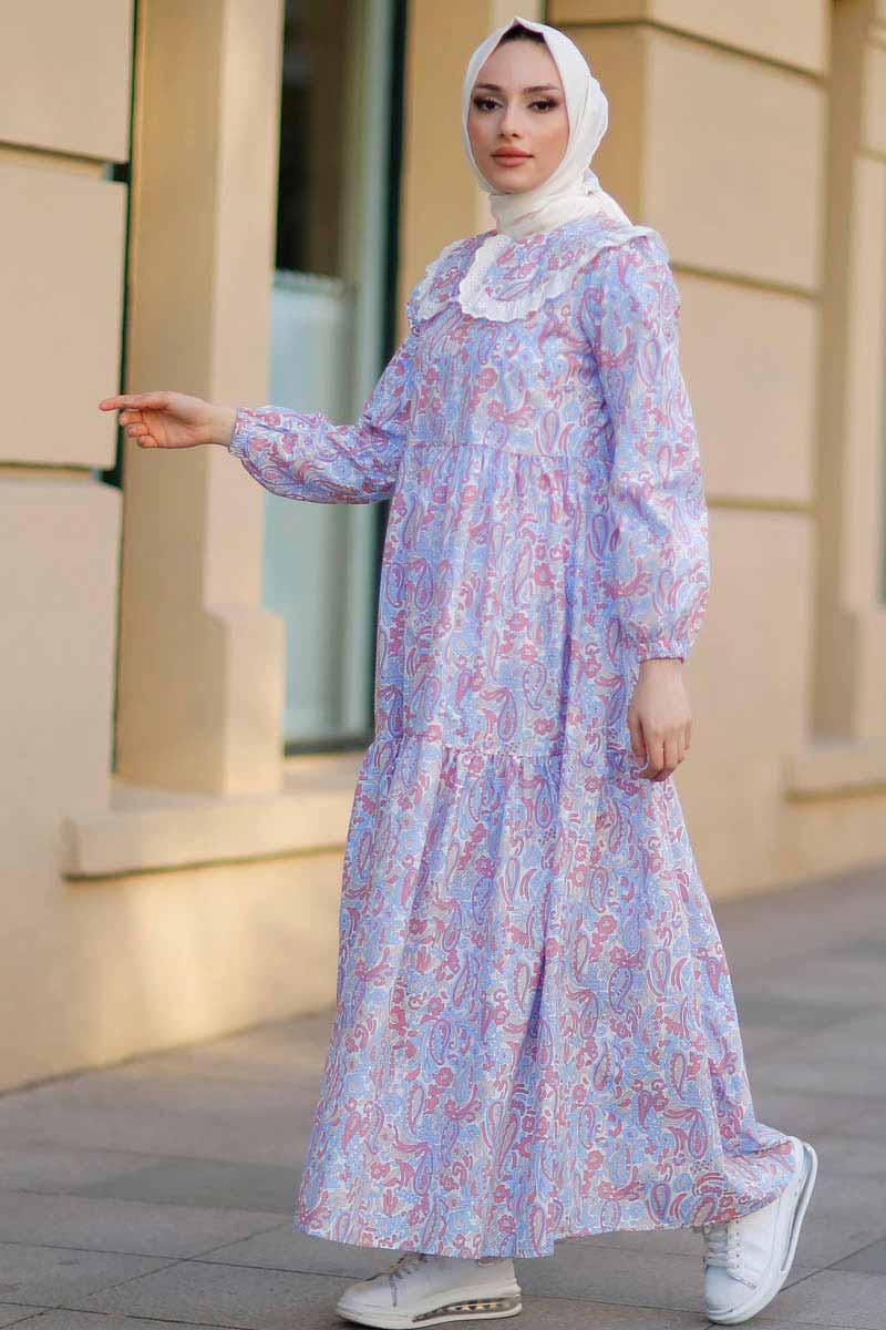 Bebe Yaka Gül Tesettür Elbise Nfc5041-3