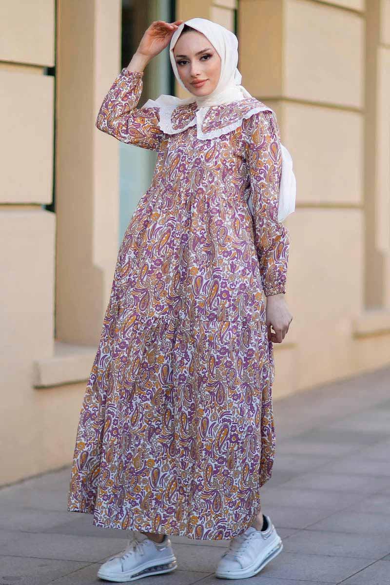Bebe Yaka Hardal Tesettür Elbise Nfc5041-4