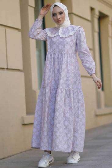 New Face - Bebe Yaka Krem Tesettür Elbise Nfc5042-3 (1)