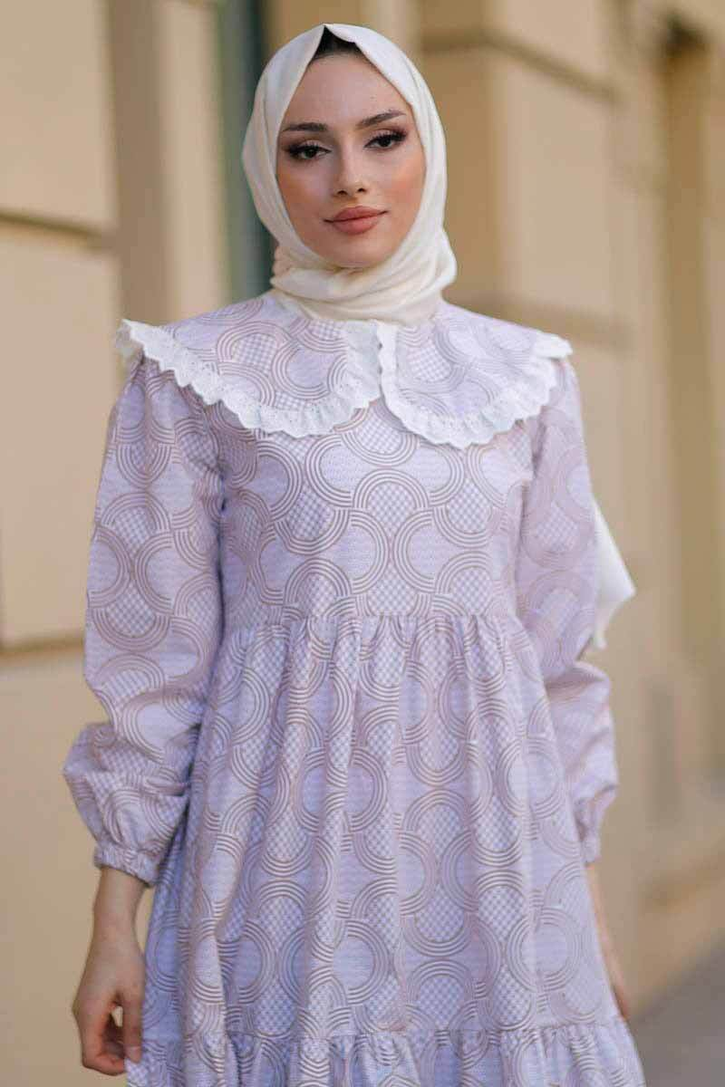 Bebe Yaka Krem Tesettür Elbise Nfc5042-3