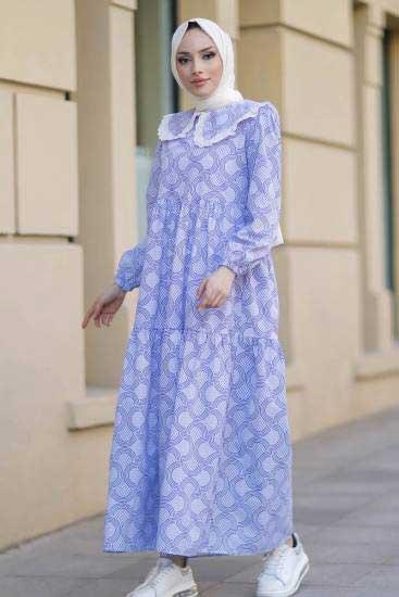 New Face - Bebe Yaka Mavi Tesettür Elbise Nfc5042-1 (1)