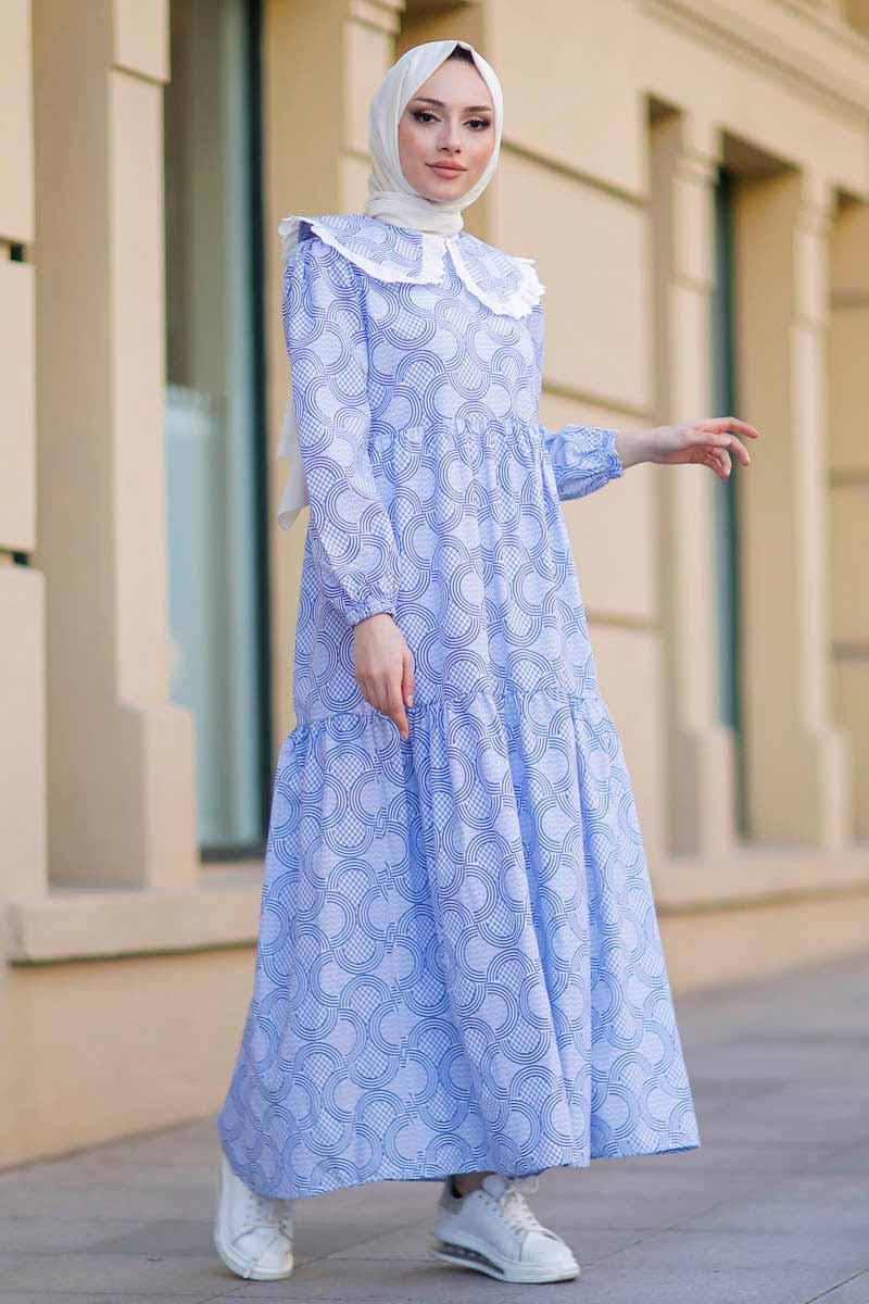 Bebe Yaka Mavi Tesettür Elbise Nfc5042-1