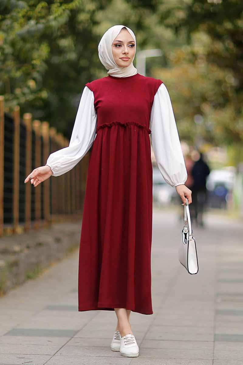 Beli Büzgülü Bordo Tesettür Elbise Efl5785-4