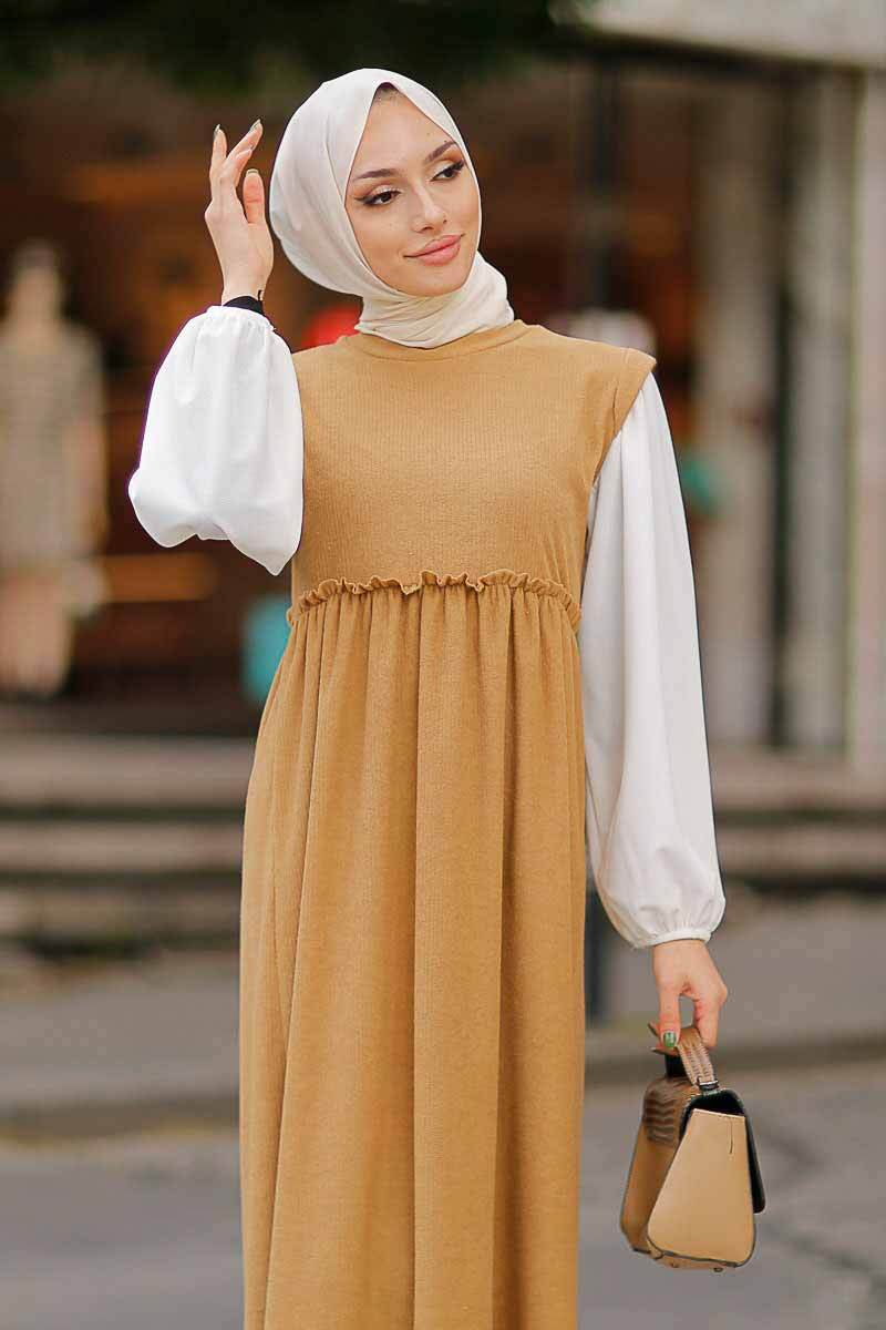 Beli Büzgülü Krem Tesettür Elbise Efl5785-3