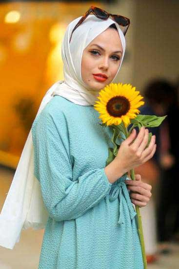 Mestura - Beli Büzgülü Mint Toptan Tesettür Elbise Mst2105-4 (1)