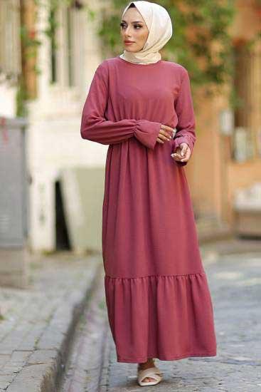 Alize - Beli Lastikli Gül Tesettür Elbise Alz1959-1 (1)