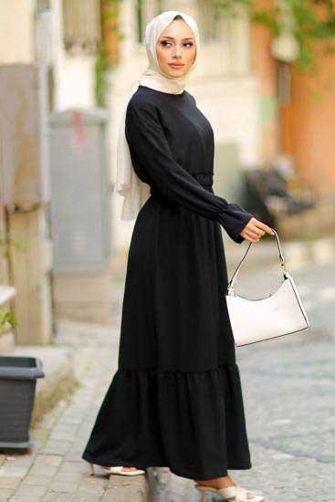 Alize - Beli Lastikli Siyah Tesettür Elbise Alz1959-2 (1)