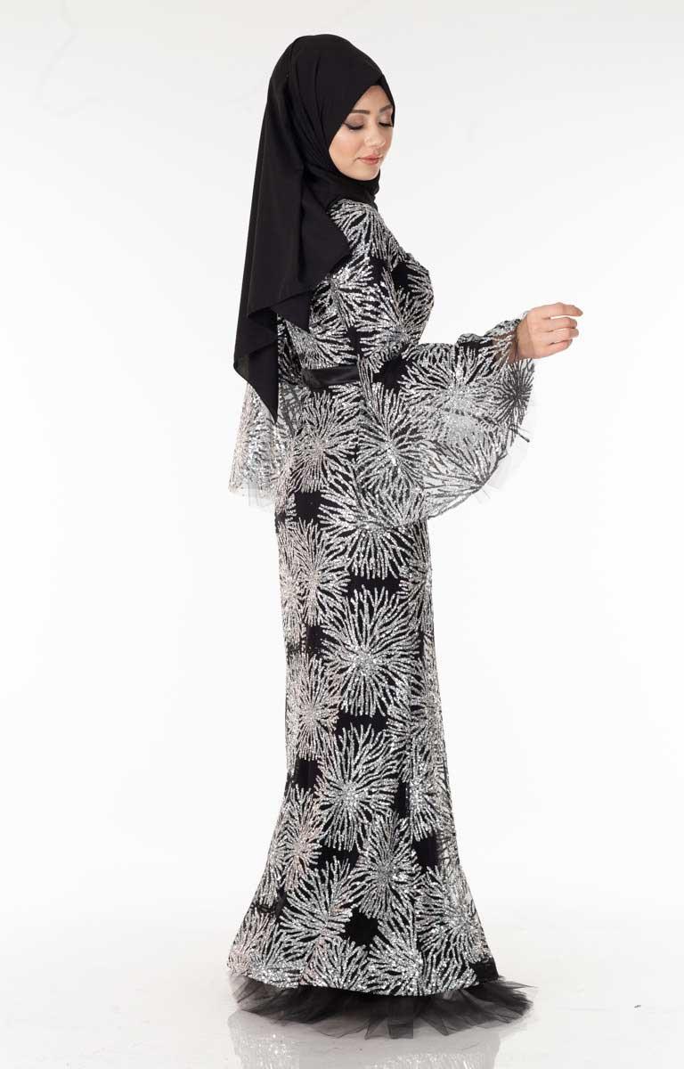 Beli Saten Pullu Siyah-Beyaz Tesettür Abiye Arn38587-6