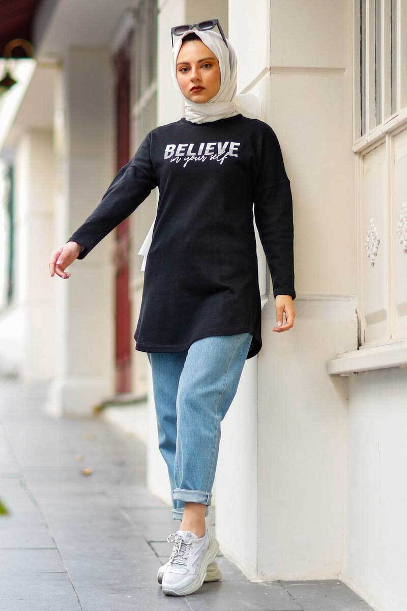 New Face - Believe Baskılı Siyah Tesettür Tunik Nfc4036-1 (1)