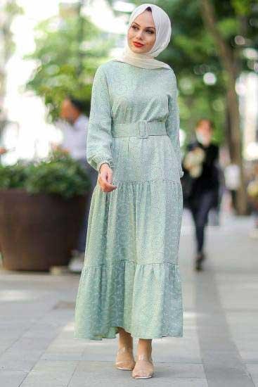 Modapery Butik - Boncuk Desenli F.Yeşil Tesettür Elbise Mdp10377-1 (1)