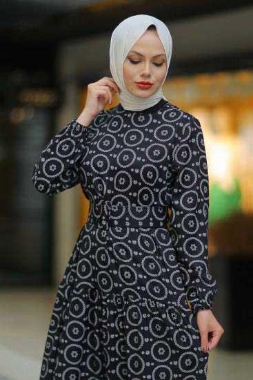 Modapery Butik - Boncuk Desenli Siyah Tesettür Elbise Mdp10377-4 (1)