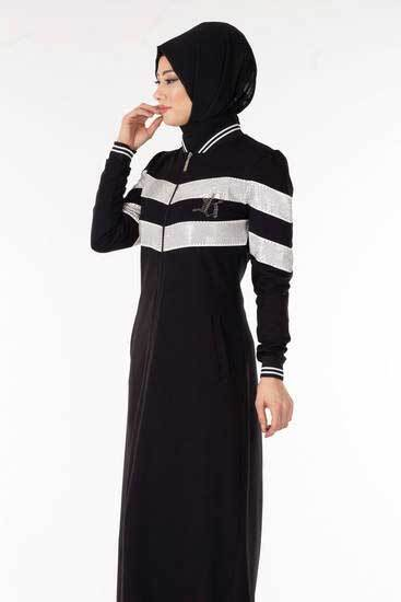 Camelya - Boydan Taşlı Şeritli Siyah Tesettür Kap Cmy3314-1 (1)