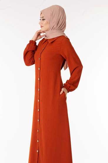 Kenza - عباية اسلامية لون قرميدي Knz2367-2 (1)