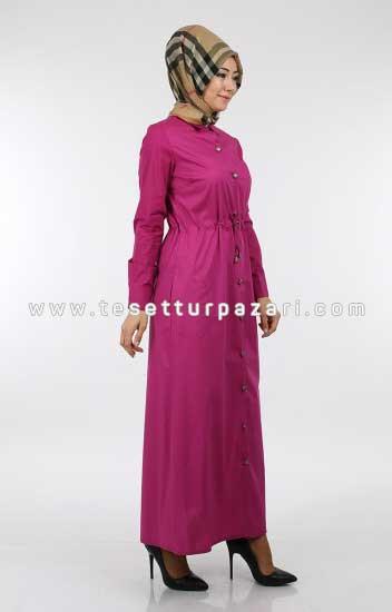 Nicotin Butik - Büzgülü Keten Elbise 215-04 Fuşya (1)