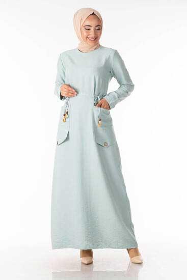 Cep Detay Mint Tesettür Elbise Shp5100-3