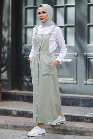 Modapery Butik - Cepli F.Yeşili Salopet Elbise Mdp601-4 (1)