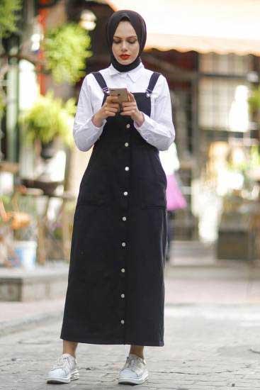 Modapery Butik - Cepli Siyah Salopet Elbise Mdp601-1 (1)