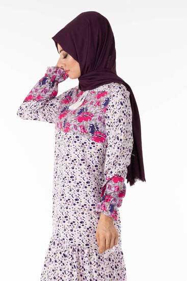 UMS Butik - Çiçek Desen Mor Tesettür Elbise Ums3909-3 (1)