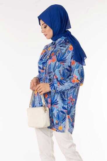 TBT Tekstil - Çiçek Desen Saks Gömlek Tbt1404-7 (1)