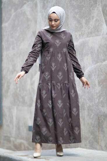 Efulim - Çiçek Desenli Kahverengi Tesettür Elbise Efl5750-2 (1)