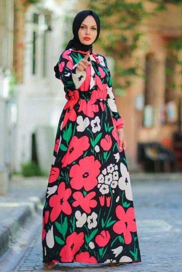 New Face - Çiçek Desenli Gül Tesettür Elbise Nfc5022-1 (1)