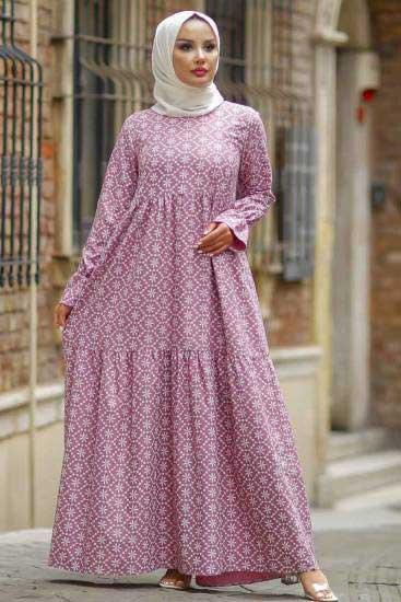 Zinka - Çiçek Desenli Gül Tesettür Elbise Znk4535-1 (1)