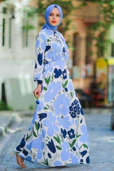 New Face - Çiçek Desenli İndigo Tesettür Elbise Nfc5022-3 (1)