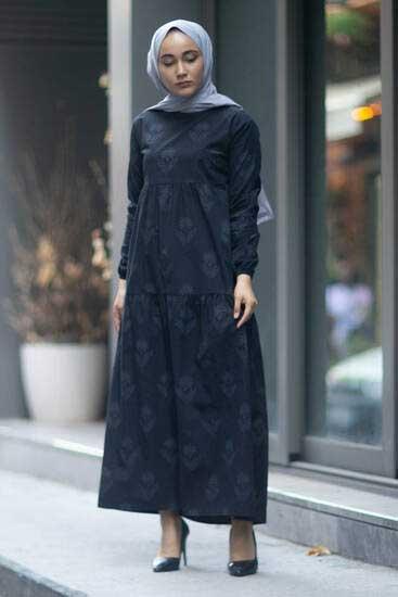 Efulim - Çiçek Desenli Siyah Tesettür Elbise Efl5750-1 (1)