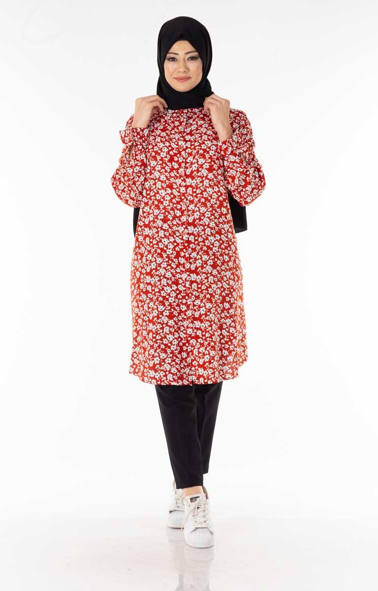 Çiçekli Kırmızı Tesettür Gömlek Kdr101-2
