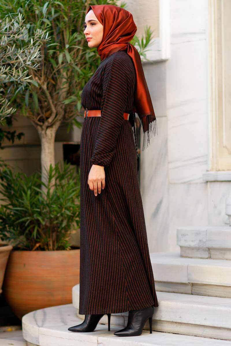 Çizgili Kemer Detaylı Kiremit Toptan Tesettür Elbise Mst2006-2