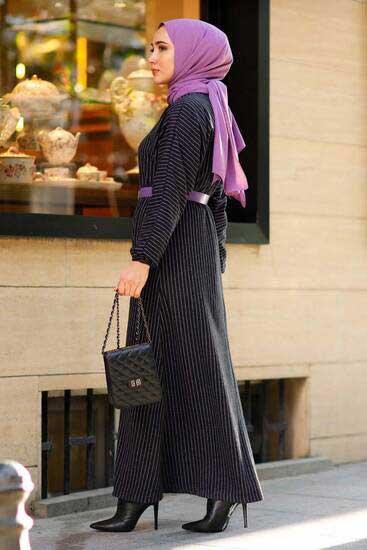 Neva - Çizgili Kemer Detaylı Lila Tesettür Elbise Nva2006-3 (1)
